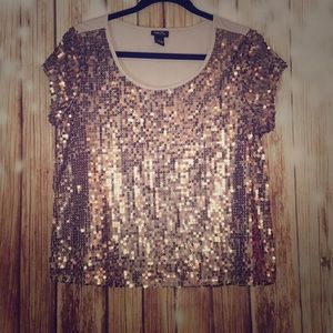 Rue 21 Taupe Sequin Crop Top Size Large